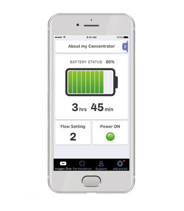 Concentratore d'ossigeno Inogen G5 app per smartphone